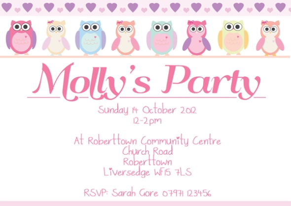 Girls birthday party invites honeyapple cute owl girls party invites filmwisefo Image collections