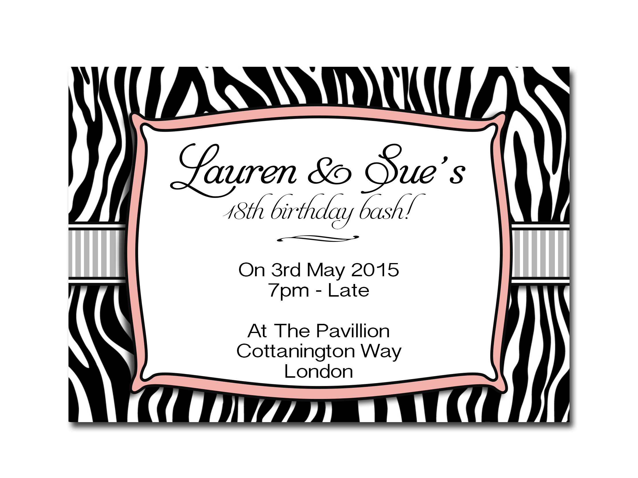 Zebra Sweet 16th, 18th or 21st Birthday Invites